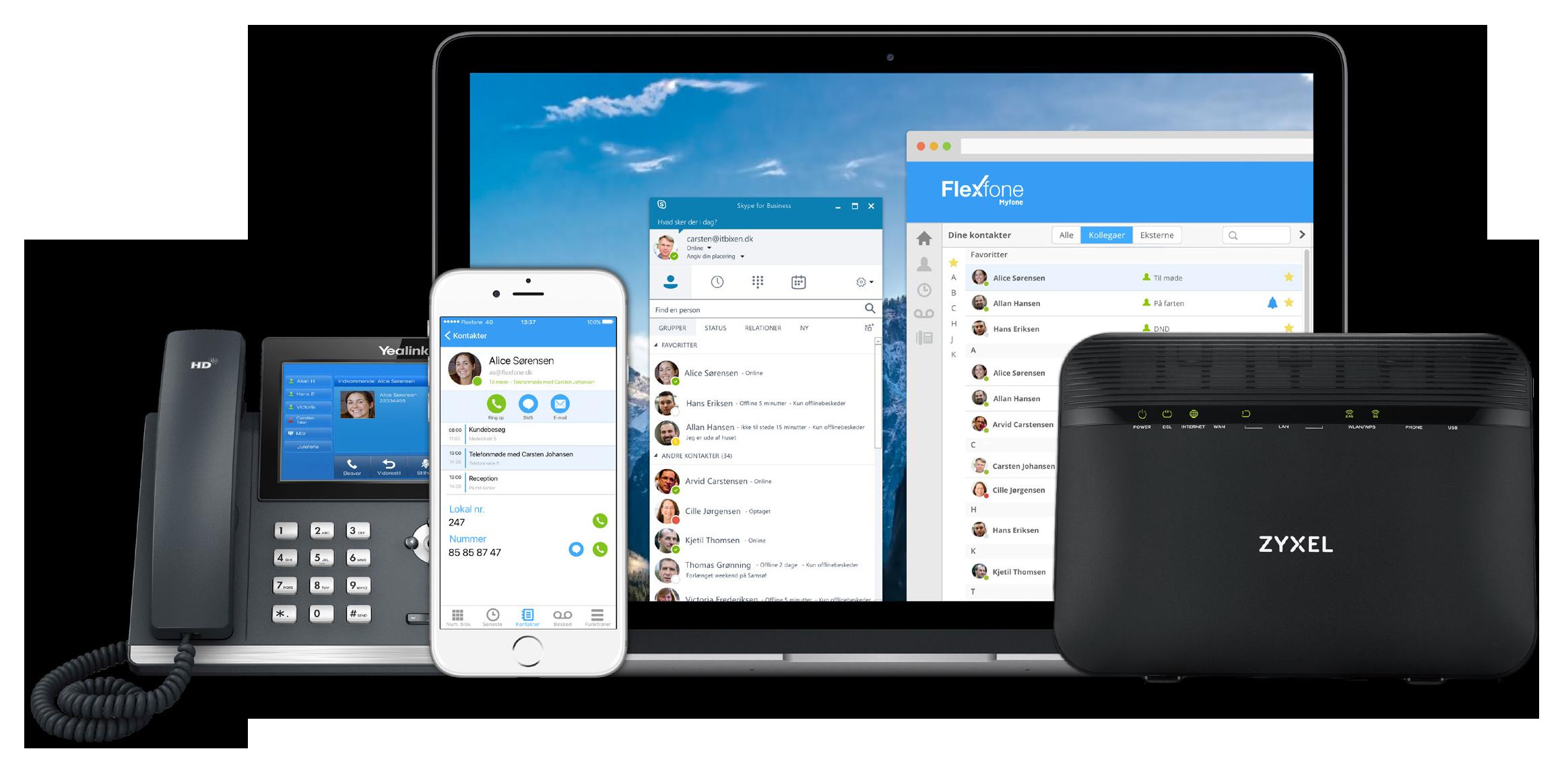 Flexfone erhvervstelefoni og Skype for business